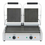 Cookline PG-2 Double Commercial Panini / Sandwich Press, with Grooved Surface, 120V