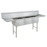 Dukers DCSR-1818-3D Three 18″ Compartment Sink with Left & Right 18″ Drainboard