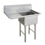 Dukers DCSR-2424 Single 24″ Compartment Sink with 24″ Drainboard